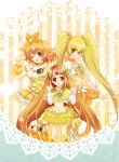 ;d blonde_hair boots bow brown_eyes brown_hair bubble_skirt choker circlet color_connection cure_muse cure_muse_(yellow) cure_pine cure_sunshine dress fresh_precure! frills hair_ribbon heart heartcatch_precure! long_hair magical_girl midriff multiple_girls myoudouin_itsuki open_mouth orange_dress precure red_eyes ribbon shirabe_ako short_hair side_ponytail smile suite_precure twintails wink wrist_cuffs yamabuki_inori yellow yellow_background yellow_dress yellow_eyes yukinabe_(pixiv944737)