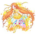 1girl boots bow brooch bubble_skirt choker circlet cure_muse_(yellow) dress frills hair_ribbon heart jewelry long_hair magical_girl musical_note orange_hair pink_eyes precure ribbon shirabe_ako solo star suite_precure very_long_hair yellow_dress