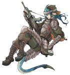 armor assault_rifle blue_hair boots gun hat kitakarai l85 long_hair original pointy_ears rifle solo tail weapon yellow_eyes