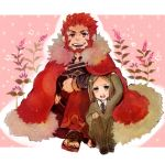 armor beard cape chibi facial_hair fate/stay_night fate/zero fate_(series) flower male mukimuki_mayuge multiple_boys red_hair redhead rider_(fate/zero) under_clothes waver_velvet