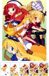 blonde_hair blue_eyes bows brown_eyes crown disgaea disgaea_2 dress elbow_gloves flonne green_eyes group harada_takehito hat jewelry kururu la_pucelle long_hair marl_kingdom nippon_ichi official_art ponytail prier red_eyes redhead ribbon rozalin wings wink