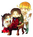 2boys age_difference chibi child couch facial_hair facial_mark fate/stay_night fate/zero fate_(series) father_and_daughter gilgamesh goatee marker multiple_boys orbe sleeping sparkle tohsaka_rin tohsaka_tokiomi toosaka_rin toosaka_tokiomi twintails wine young