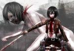 belt black_eyes black_hair blood giant jacket mikasa_ackerman scarf shingeki_no_kyojin short_hair sword thigh_strap weapon yuyu_(fox0904)