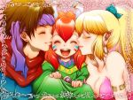2boys 2girls androgynous blonde_hair breasts brown_hair cheek_kiss cleavage closed_eyes double_cheek_kiss earrings eyes_closed facepaint hairband happy hoop_earrings jewelry kiss large_breasts lilysick multiple_boys multiple_girls open_mouth pointy_ears ponytail popoie purim randi red_hair redhead seiken_densetsu seiken_densetsu_2