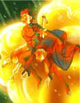 2boys carrying carrying_under_arm explosion fate/stay_night fate/zero fate_(series) jumping kayneth_archibald_el-melloi lancer_(fate/zero) marock multiple_boys parody sola-ui_nuada-re_sophia-ri spoilers toki_wo_kakeru_shoujo