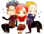 2boys black_hair blonde_hair chibi fate/stay_night fate/zero fate_(series) heart kayneth_archibald_el-melloi lancer_(fate/zero) lowres multiple_boys orbe red_eyes red_hair redhead sola-ui_nuada-re_sophia-ri