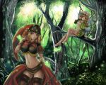 blonde_hair breasts chain chains forest impossible_clothes large_breasts mercedes midriff multiple_girls nature navel odin_sphere only_haruka purple_eyes thigh-highs thighhighs velvet_(odin_sphere) violet_eyes wings yellow_eyes zettai_ryouiki