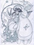 alex_ahad breasts capcom chinese_clothes claw_(weapon) claws cleavage cleavage_cutout darkstalkers hsien-ko jiangshi knife large_breasts lei_lei mace ofuda oh8 one_eye_covered scimitar short_hair signature sketch solo sword vampire_(game) weapon weights