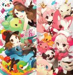 2boy2 2girls baseball_cap black_eyes blue_eyes brown_eyes brown_hair candy cat_ears character_request crown denim denim_shorts grey_hair hat jelly_bean multiple_boys multiple_girls oshawott pink_hair pokemon pokemon_(creature) pokemon_(game) pokemon_black_and_white pokemon_bw ponytail red_eyes reuniclus shorts snivy tepig touko_(pokemon) touya_(pokemon) vest welchino