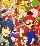 bandage blonde_hair blue_eyes blue_hair brown_hair crown facial_hair fire_emblem fire_emblem:_monshou_no_nazo fire_emblem:_souen_no_kiseki gloves hat ike kid_icarus kirby kirby_(series) link long_hair luigi mario marth mask meta_knight metroid mustache nintendo pikachu pit pit_(kid_icarus) pocky pointy_ears pokemon pokemon_(creature) princess_peach saiba_(henrietta) samus_aran sheik smile super_mario_bros. super_smash_bros. the_legend_of_zelda twilight_princess yoshi zero_suit