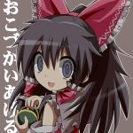 black_eyes black_hair bow crazy_eyes gibuchoko hair_bow hair_ribbon hair_tubes hakurei_reimu open_mouth ribbon smile solo touhou translated