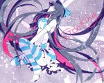 blue_eyes bow hair_bow high_heels long_hair macco multicolored_hair open_shoes panty_&_stocking_with_garterbelt shoes solo stocking_(character) stocking_(psg) striped striped_legwear thigh-highs thighhighs