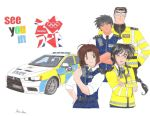 2012_summer_olympics 2girls black_hair braid brown_hair car green_eyes high_visibility_jacket kirayamatofan_(danny) kobayakawa_miyuki london long_hair motor_vehicle multiple_girls nakajima_ken olympics police police_car police_uniform policewoman purple_eyes short_hair sunglasses toukairin_shouji tsujimoto_natsumi uniform union_jack united_kingdom vehicle violet_eyes walkie_talkie you're_under_arrest you're_under_arrest