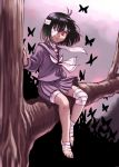 1girl bandages barefoot black_hair butterfly oyatsu_(mk2) red_eyes school_uniform serafuku short_hair smile tree