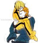 1girl blonde_hair blue_jacket bomber_jacket carrying closed_eyes eyes_closed huang_baoling hug jacket keith_goodman mozuwaka short_hair tiger_&_bunny