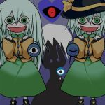 black_sclera blush child clone crazy crazy_eyes eyes green_eyes hat heart komeiji_koishi long_hair monopollyan multiple_girls pale_skin red_eye red_eyes sad shoes short_hair skirt tears third_eye touhou white_hair white_skin