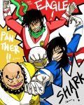 3boys english getter_robo gloves jin_hayato male_focus multiple_boys musashibou_benkei_(getter_robo) nagare_ryoma new_getter_robo royal_hitsuji scarf super_sentai taiyou_sentai_sun_vulcan