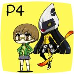 blush_stickers brown_eyes brown_hair chan_co chibi glasses hands_on_hips persona persona_4 satonaka_chie short_hair smile standing tomoe_(persona_4) track_jacket yellow-framed_glasses