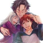 2boys age_difference black_hair emiya_kiritsugu emiya_shirou family fate/stay_night fate/zero fate_(series) father_and_daughter father_and_son good_end illyasviel_von_einzbern long_hair miwonu_(07ng25) multiple_boys raglan_sleeves red_hair redhead silver_hair white_hair yellow_eyes