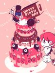 :p :q avery_(skullgirls) bird birthday blush_stickers bomb cake casual confetti eyes fighting food fork george_the_bomb gloves hammer happy_birthday heart mechanical_arms monochrome no_hat no_headwear pale_skin peacock_(skullgirls) pink pink_background red_hair simple_background skullgirls smile spot_color t-shirt tongue yojio_(2188)