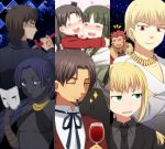 4girls :d =_= age_difference assassin_(fate/zero) beard black_key black_keys blonde_hair blue_hair bottle brown_hair cape casual child closed_eyes column_lineup command_spell criss-cross_halter cup dark_skin earrings eyes_closed facial_hair fate/stay_night fate/zero fate_(series) female_assassin_(fate/zero) formal from_behind fur_trim gilgamesh green_eyes halter_top halterneck heart hug itou_(mogura) jewelry kotomine_kirei mask mother_and_daughter multiple_boys multiple_girls necktie open_mouth pant_suit ponytail red_hair redhead rider_(fate/zero) saber short_hair smile suit sword tohsaka_aoi tohsaka_rin tohsaka_tokiomi toosaka_aoi toosaka_rin toosaka_tokiomi weapon wine_glass young