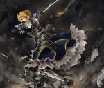 ahoge armor armored_dress blonde_hair dress excalibur fate/stay_night fate_(series) green_eyes highres saber shin_status shinoji_(shin_status) solo sword weapon