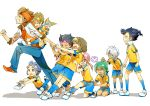 adult blue_hair brown_hair endou_mamoru green_eyes hamano_kaiji hayami_tsurumasa inazuma_eleven inazuma_eleven_(series) inazuma_eleven_go kageyama_hikaru kariya_masaki kirino_ranmaru kurama_norihito long_hair male matsukaze_tenma multiple_boys nishizono_shinsuke panties pants_pull pulling raimon shindou_takuto short_hair soccer_uniform tears tsurugi_kyousuke twintails underwear white_background zanunoneko