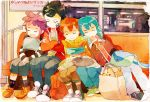 backpack bag blue_hair brown_hair bus bus_interior casual closed_eyes eyes_closed green_hair headband inazuma_eleven inazuma_eleven_(series) inazuma_eleven_go kageyama_hikaru kariya_masaki male matsukaze_tenma mocha_(mokaapolka) motor_vehicle multiple_boys nishizono_shinsuke open_mouth randoseru short_hair sleeping smile stuffed_animal stuffed_toy teddy_bear tsurugi_kyousuke vehicle