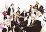 6+boys absurdres aizen_sousuke annotated annoyed bald beard black_hair bleach blue_eyes blue_hair braid brown_eyes brown_hair chest_hair closed_eyes cornrows crossed_arms dark_skin everyone eyepatch eyes_closed facepaint facial_hair fingerless_gloves floral_print front_braid front_ponytail frown glasses gloves green_eyes grey_eyes hair_ornament hairlocs hands_in_sleeves haori hat helmet highres hitsugaya_toushirou ichimaru_gin japanese_clothes kimono komamura_sajin kubo_taito kuchiki_byakuya kurotsuchi_mayuri kyoraku_shunsui kyouraku_shunsui long_beard long_hair mask multiple_boys multiple_girls mustache official_art scan scar scarf shinigami silver_hair single_braid smile spiked_hair spiky_hair straw_hat stubble sui-feng sunglasses taichou_haori torn_clothes tousen_kaname twintails ukitake_juushirou ukitake_jyuushirou unohana_retsu wavy_hair white_hair yamamoto-genryuusai_shigekuni yellow_eyes zaraki_kenpachi