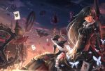 alice:_madness_returns alice_(wonderland) alice_in_wonderland american_mcgee's_alice black_hair blood blue_eyes buckle building butterfly card cards castle checkered cheshire_cat chessboard cloud corset crown cup dantewontdie dress falling_card gears highres lips long_hair multiple_girls queen_of_hearts red_eyes skull sky teacup