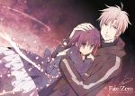 dress fate/stay_night fate/zero fate_(series) hand_on_head hoodie kazu10 matou_kariya matou_sakura purple_eyes purple_hair short_hair title_drop uncle_and_niece violet_eyes white_hair young