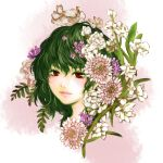 colored_eyelashes flower green_hair highres kazami_yuuka leaf lips nagasehachi_koromoko plant red_eyes short_hair smile solo touhou youkai