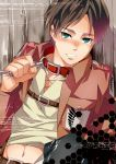 1boy black_hair blush collar eren_jaeger green_eyes ichitaka jacket midriff shingeki_no_kyojin solo