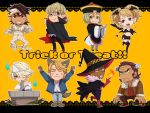6+boys antonio_lopez bad_id bandage bandages barnaby_brooks_jr bat bat_wings blue_fire cape chibi chinese_clothes eckzahn fang fire frankenstein frankenstein's_monster ghost gloves halloween hat huang_baoling ivan_karelin jiangshi kaburagi_t_kotetsu karina_lyle keith_goodman multiple_boys multiple_girls mummy nathan_seymour ofuda paw_gloves tiger_&_bunny triangular_headpiece trick_or_treat vampire werewolf wings wink witch witch_hat yellow_background