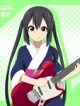 black_hair brown_eyes character_name electric_guitar guitar ikari_manatsu instrument k-on! long_hair nakano_azusa smile solo twintails