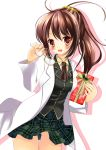 blazer boku_wa_tomodachi_ga_sukunai brown_eyes brown_hair gift glasses glasses_removed holding holding_gift labcoat long_hair plaid plaid_skirt pleated_skirt ponytail school_uniform shiguma_rika skirt smile solo thigh_gap thighs yuutsuki_hina