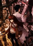 jacket labcoat legwear_under_shorts makise_kurisu md5_mismatch necktie okabe_rintarou pantyhose resized shorts steins;gate zen_(jirakun)