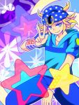 1boy beanie blonde_hair hat hoodie horseshoe johnny_joestar jojo_no_kimyou_na_bouken murasaki_gin'ya solo star steel_ball_run v