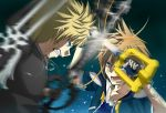 2boys blonde_hair blue_eyes brown_hair cloak fighting fingerless_gloves gloves jewelry keyblade kingdom_hearts multiple_boys necklace roxas sora_(kingdom_hearts) wamai