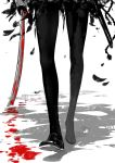 1girl black_legwear bloody_weapon close-up feathers fkey highres legs original pantyhose sword weapon