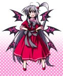 capelet dress fang goddess hair_bobbles hair_ornament hemogurobin_a1c long_hair open_mouth red_eyes shinki side_ponytail silver_hair smile solo touhou very_long_hair wings