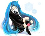 1girl ahoge blue_eyes blue_hair flower formal hatsune_miku long_hair necktie skyness solo twintails vocaloid watermark web_address