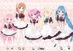 5_girls :d :o ahoge bangs blonde_hair blue_hair blush brown_eyes brown_hair closed_eyes eyes_closed frills glasses hakamada_hinata highres hime_cut kashii_airi kneehighs konatsu_miyu large_ribbon long_hair maid maid_headdress minato_tomoka misawa_maho multiple_girls nagatsuka_saki noguchi_takayuki open_mouth over-kneehighs overkneesocks pink_eyes pink_hair red_eyes ribbon ro-kyu-bu! rose_hair rou-kyuu-bu! shoes short_hair side_bangs smile thigh-highs thighhighs twintails very_long_hair zettai_ryouiki