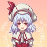 alternate_costume ascot blue_hair capelet collar curiosities_of_lotus_asia dress giisu hat open_mouth red_eyes remilia_scarlet short_hair smile solo star touhou