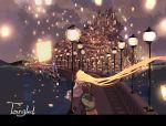 castle disney floating_hair flynn_rider from_behind gori_matsu lamppost lantern long_hair night rapunzel_(disney) scenery ship sitting sky_lantern tangled title_drop very_long_hair