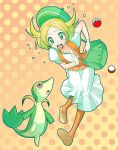 bel_(pokemon) blonde_hair clumsy green_eyes hat hat_green_eyes nu_(ukskuj) open_mouth orange_legwear pantyhose poke_ball pokemon pokemon_(game) pokemon_black_and_white pokemon_bw servine skirt snivy wristband
