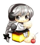 braid cherry chibi earmuffs food food_on_face fruit grey_eyes grey_hair long_hair minigirl pudding sekka_yufu single_braid skirt smile solo tsunoyomogi_amahashi utau whipped_cream
