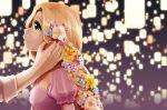 blonde_hair blurry depth_of_field disney dress flower green_eyes hair_flower hair_ornament lantern long_hair mille-feuille_(romance_chun) profile puffy_sleeves rapunzel_(disney) sky_lantern smile solo tangled very_long_hair