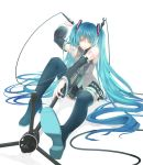 aqua_eyes aqua_hair bare_shoulders blue_legwear cable colored detached_sleeves hatsune_miku highres long_hair microphone microphone_stand nail_polish necktie nicole simple_background sitting skirt solo thigh-highs thighhighs twintails very_long_hair vocaloid