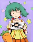 ahoge blush bob_cut carrot closed_eyes console dress drum_machine eyes_closed green_hair highres instrument machinedrum_sps-1 macross macross_frontier mixer music ranka_lee sampler science_fiction star synthesizer vegetable